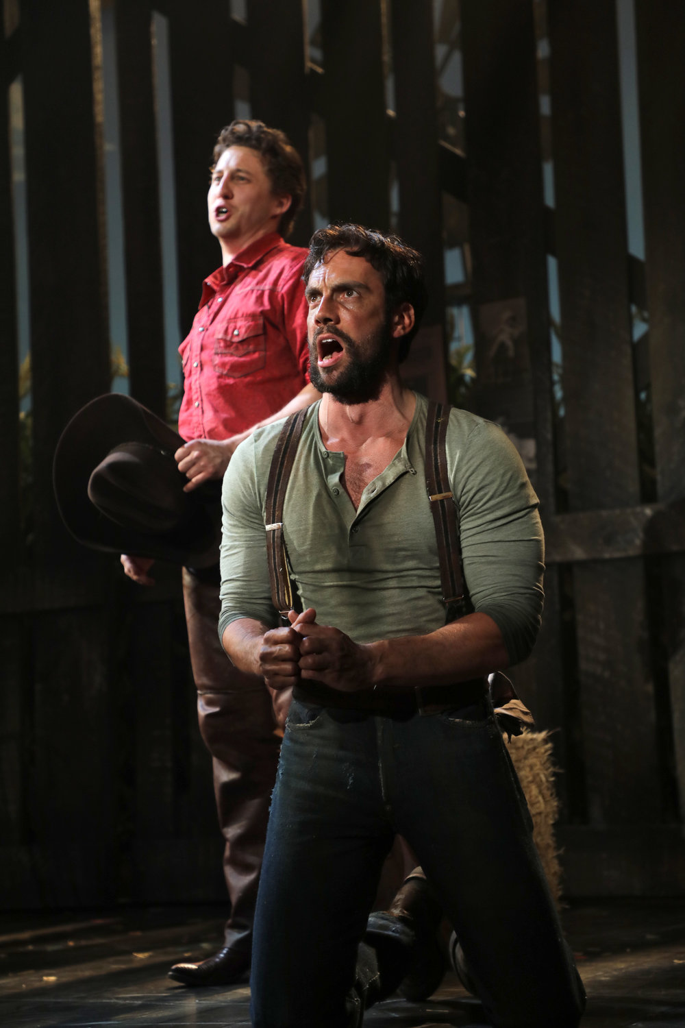 "Matt Faucher (foreground) and Rhett Guter in Goodspeed Musicals' production of ""Oklahoma!"""