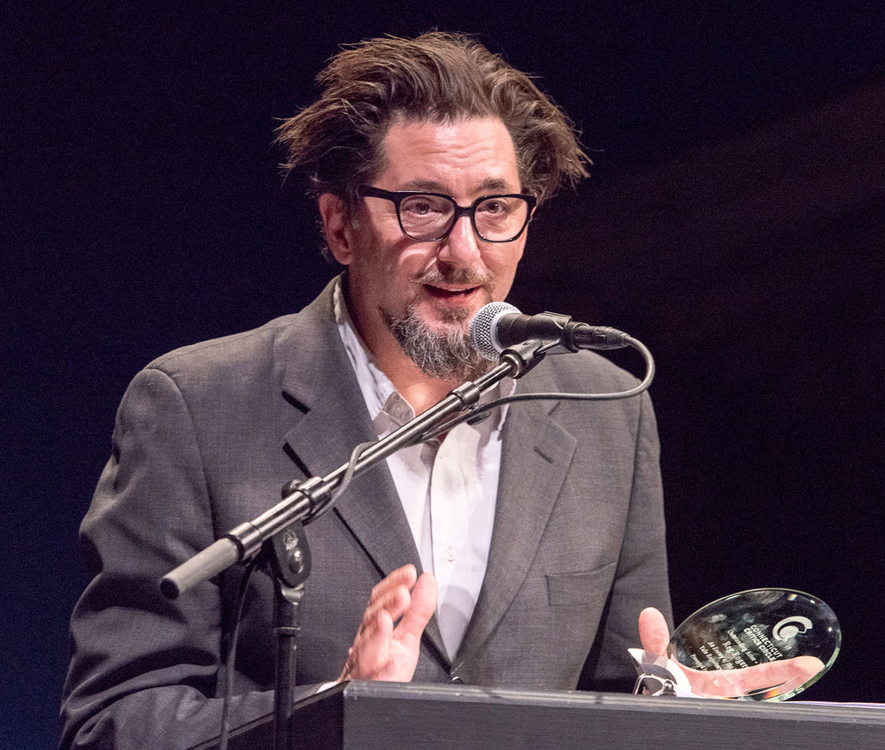 """REG ROGERS ACCEPTING FOR OUTSTANDING ACTOR IN A PLAY FOR THE YALE REPERTORY THEATRE PRODUCTION OF """"AN ENEMY OF THE PEOPLE"""" (ALL PHOTOS BY MARA LAVITT)"""
