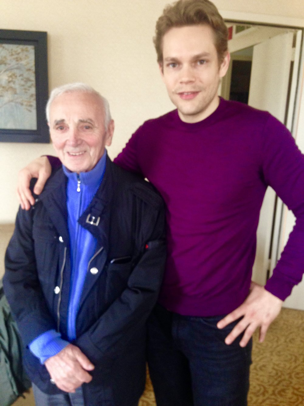 Charles Aznavour in New Haven in 2016 with his then 38-year-old son, Nicolas, a neuroscientist who put his career on hold to tend to his father and his touring schedule. Photo by Frank Rizzo.