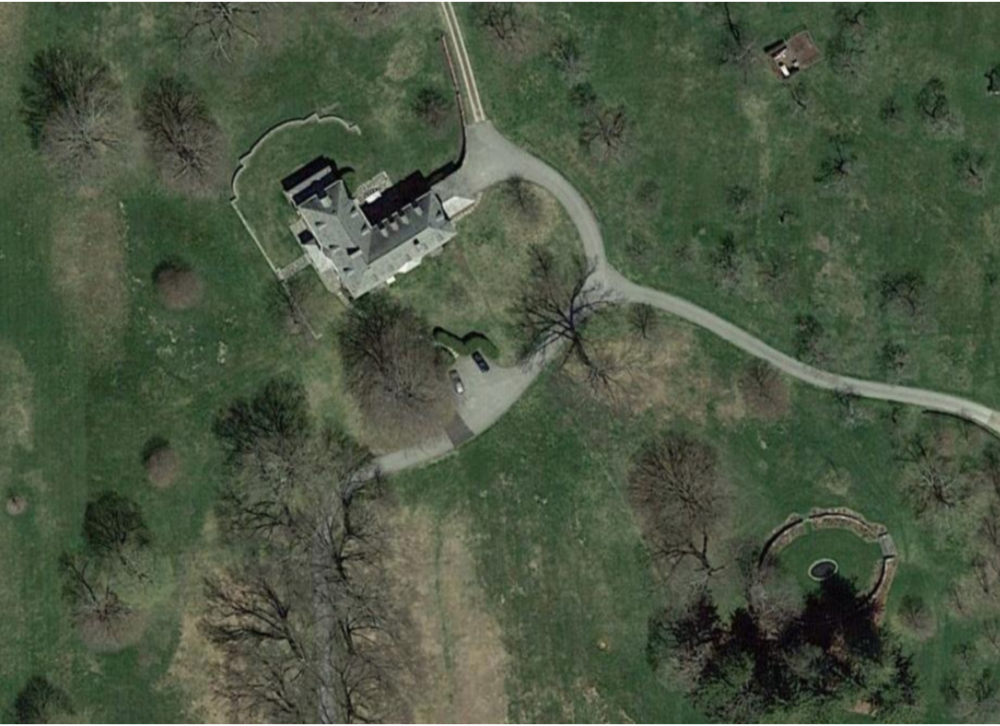 Jasper John's home and studio in Sharon, Connecticut. Courtesy of Google Earth.