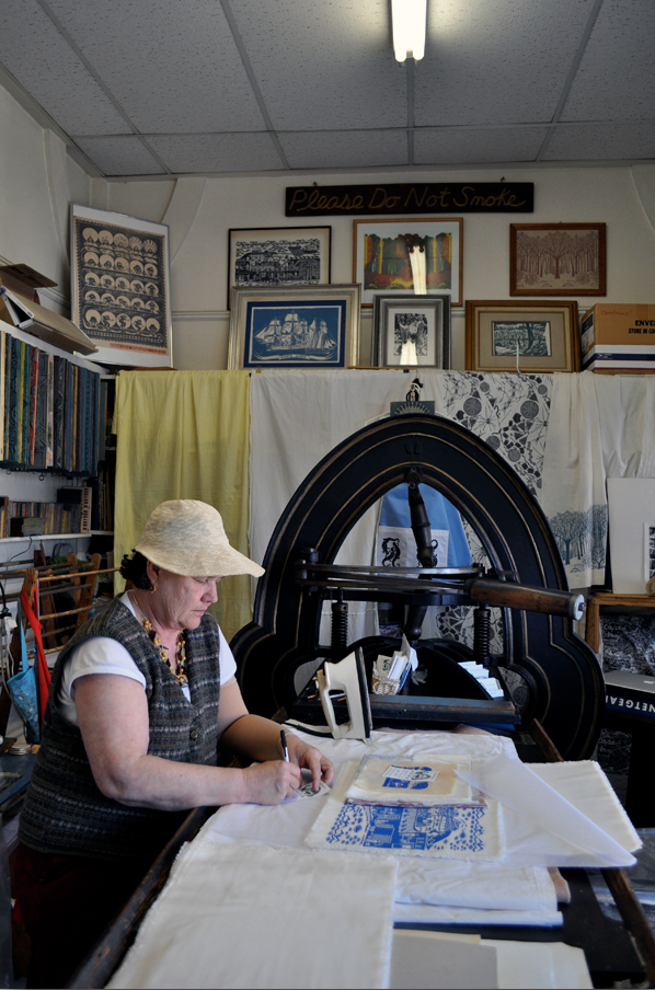 Isabel Natti at her Acorn Press, which had been her uncle's