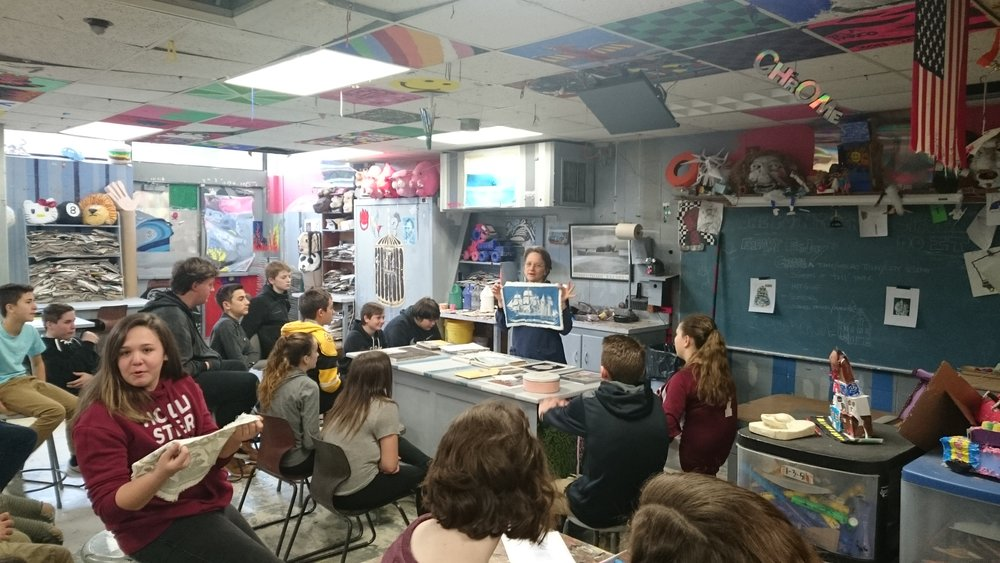 O'Maley School Middle Students receiving a lesson on printmaking and the Folly Cove Designers by local artist Mary Rhinelander. February 1, 2018