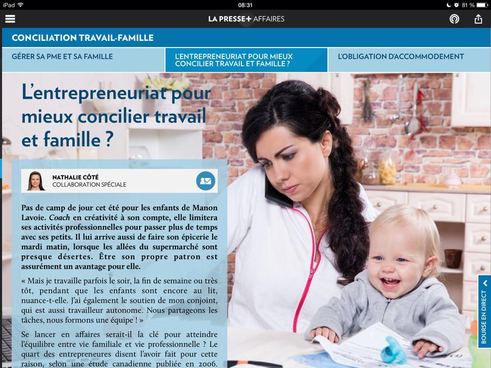 manon lavoie conciliation travail-famille dans la presse +