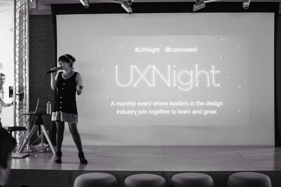 Andi Galpern, Founder of Cascade, is kicking off UXNight. Photo by Elina Lin.