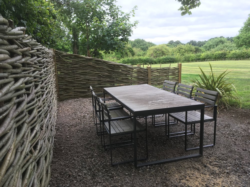 Naturally fenced seating area