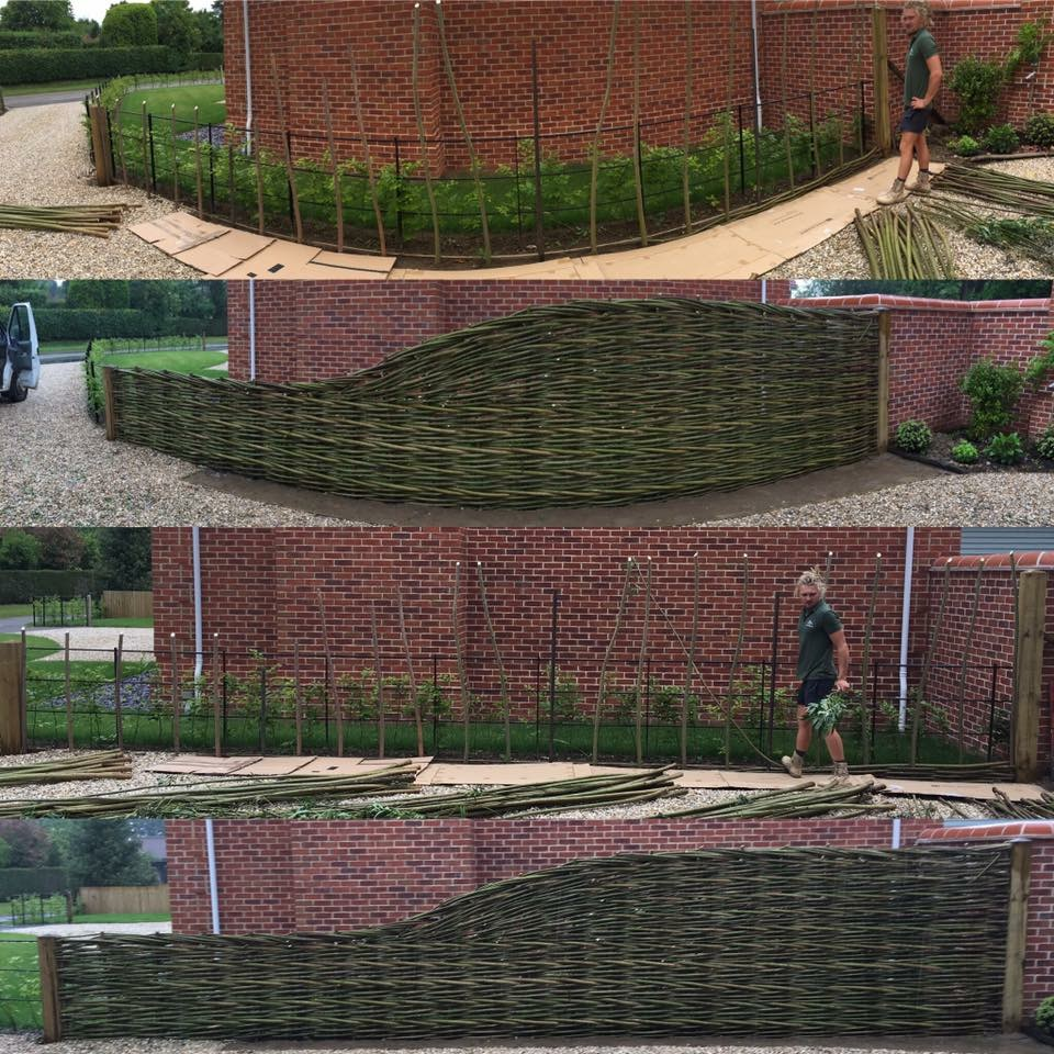 How do you deliver the fencing? - All of our fencing is woven in situ. We arrive on site with freshly harvested willow rods and take over the garden for a day or two, but don't worry - we are very careful of special plants and shrubs and like to be as tidy as possible!Our timber framed panels, gates, arches, dens can be made in our workshop and delivered to site.