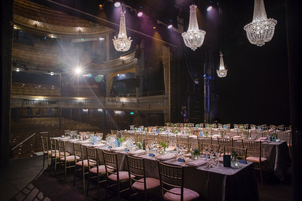 Dinner on stage at the Harold Pinter Theatre, London