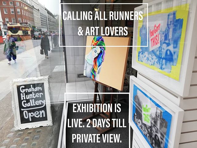 CALLING ALL RUNNER & ART LOVERS. . Keep On Running, exhibition is live. . Big thanks to @grahamhuntergallery for the help in setting up the exhibition and for the opportunity. . The artworks are up😋. . The Graham Huntet Gallery, 81 Baker Street, London. Private View is this Thursday (25th) and hope to see you there. . . . . . . . . . . . . . . . . . . . . . . . . . . #londonexhibition #exhibitioninlondon #runningartwork #runningart #runninglove #londonrunners #handprinted #wimbledonartstudios #bakerstreet #londonartexhibition #runningcommunity