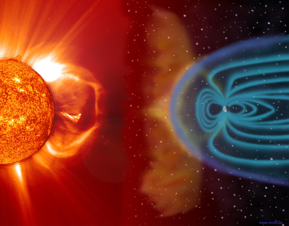 Artistic view of a CME interacting with the magnetosphere. Image credit: Steele Hill (NASA).