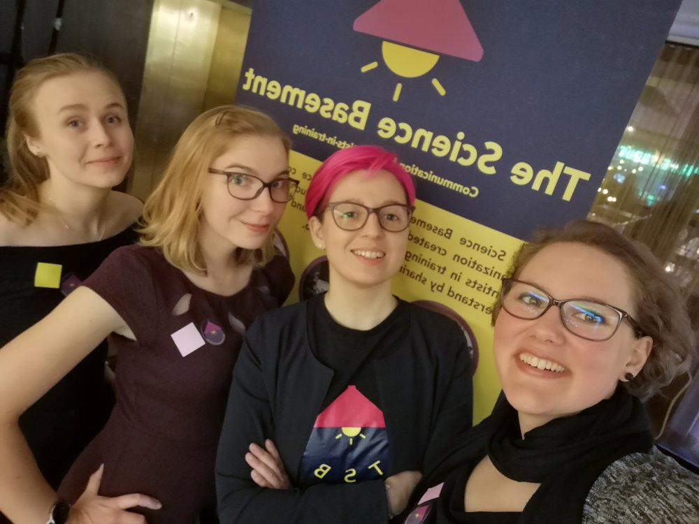 Figure 1. The Science Basement team at Y Science:  Katja Viivi ,  Lea Urpa ,  Ekaterina Baibuz ,  Chiara Facciotto  (from left to right)