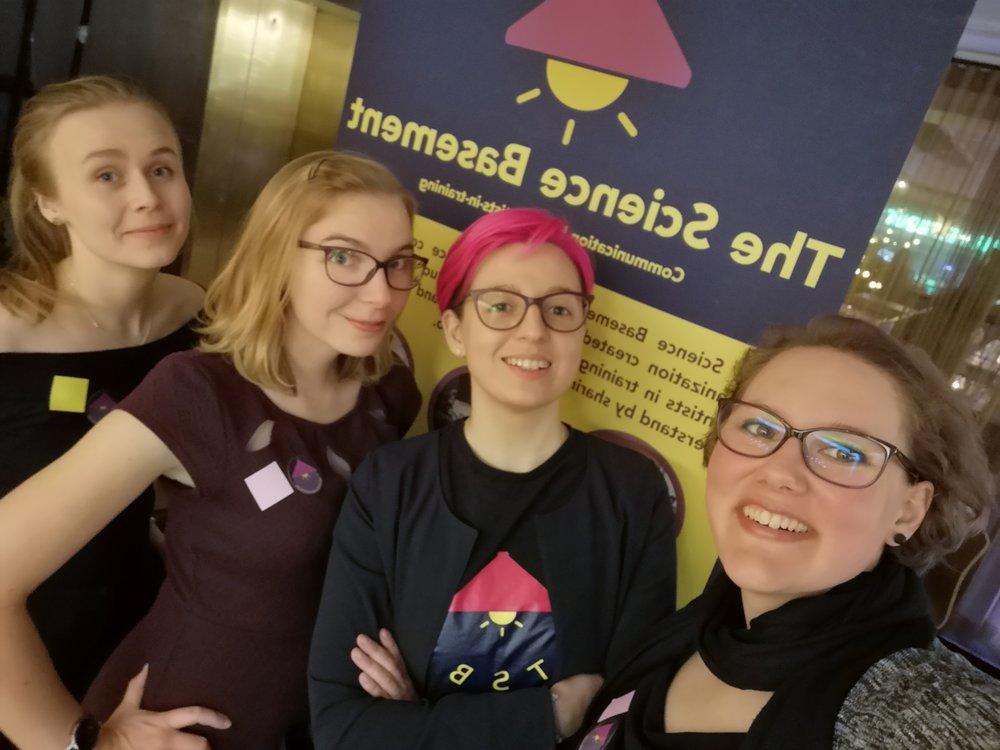 Figure 1. The Science Basement team at Y Science:  Katja Viivi ,  Lea Urpa ,  Ekaterina Baibuz ,  Chiara Facciotto  (from left to right)