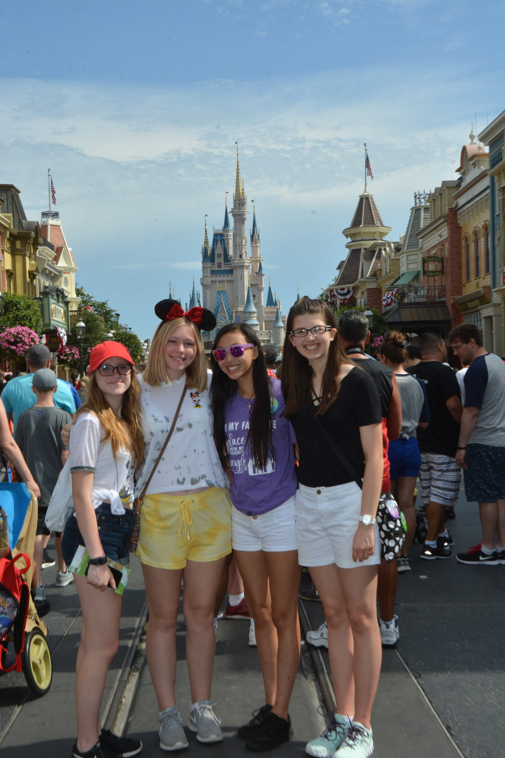 Freshman clarinets Haylie, Hailey, Hannah & Katelyn on Main Street USA