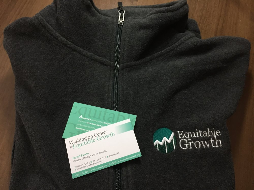 Business cards and staff fleece