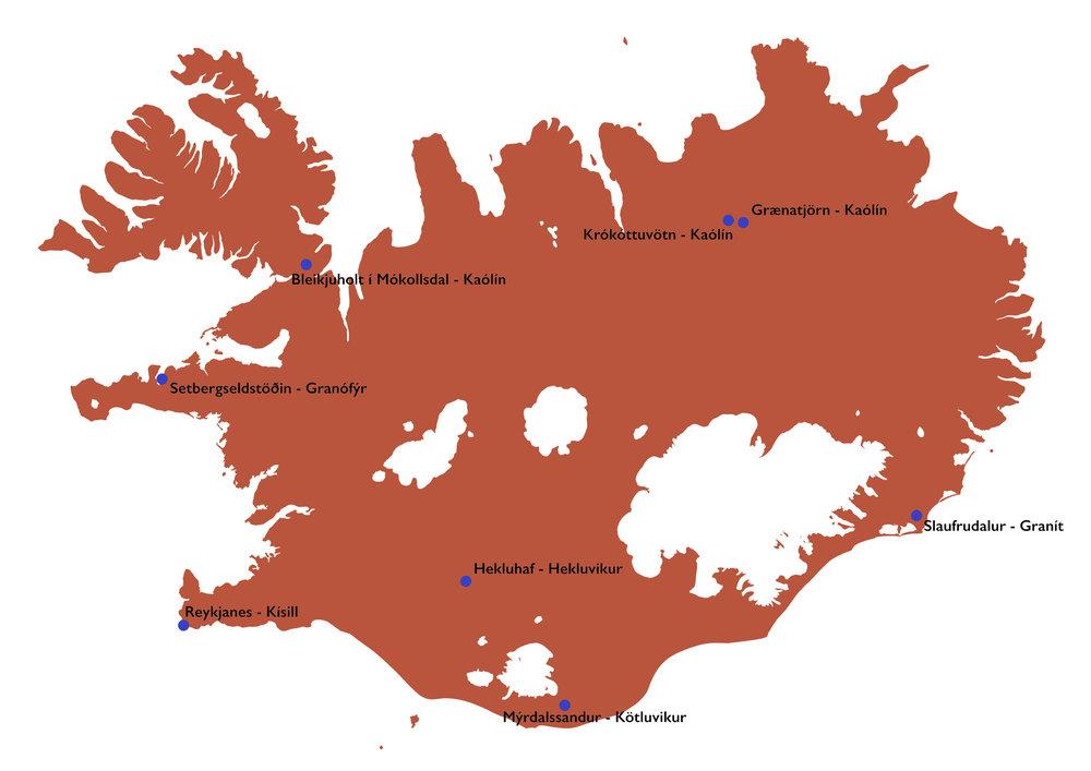 Fundarstaðir íslenskra hráefna, sem skoðuð hafa verið í leit að íslensku postulíni