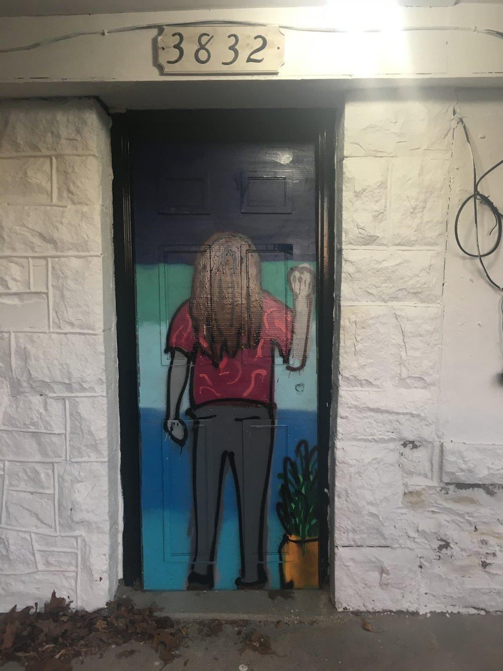 "Acrylic Spray Paint on Cardboard  73""x30"""