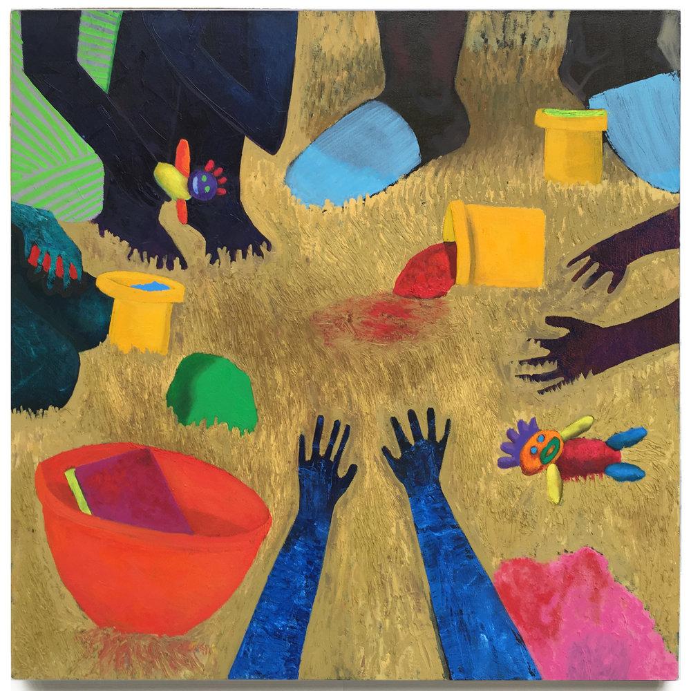"Play Dough On Primed Canvas . Oil On Canvas . 40"" x 40"" . 2016"