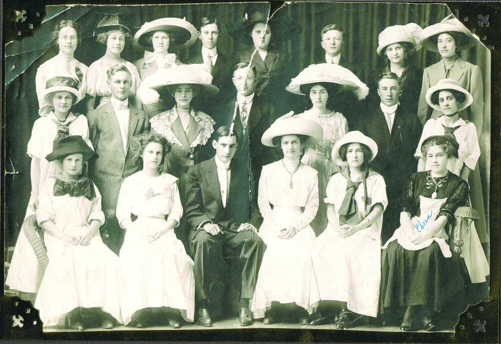 The cast of the 1910 Junior Class Play,  The Deacon's Second Wife .