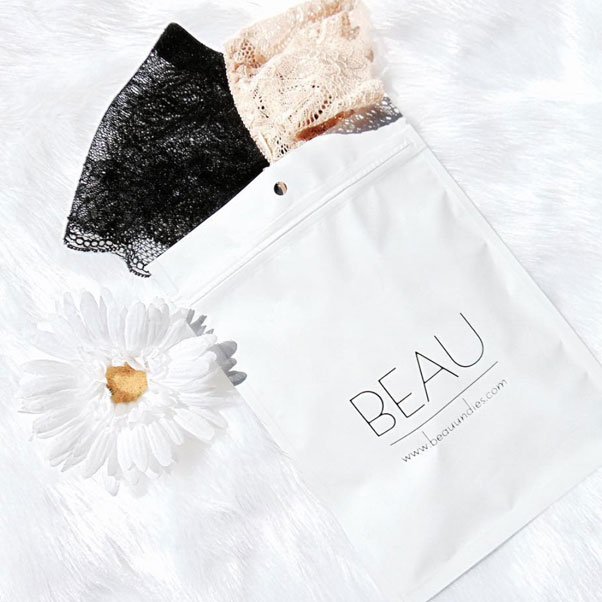 Gorgeous undies delivered straight to your door - BEAU UndiesUSE CODE: PALMBLACKFRI for30% off your 1st Month's Subscription or a Gift Subscription if you subscribe today! (Ends 11/24/17 11:59pm PST).CYBER MONDAY: Use code PALMCYBERfor 15% off your 1st Month's Subscription or a Gift Subscription if you subscribe today! (Ends 11/27/17 at 11:59pm PST)Popular: Monthly Beau Bag ($13.99)