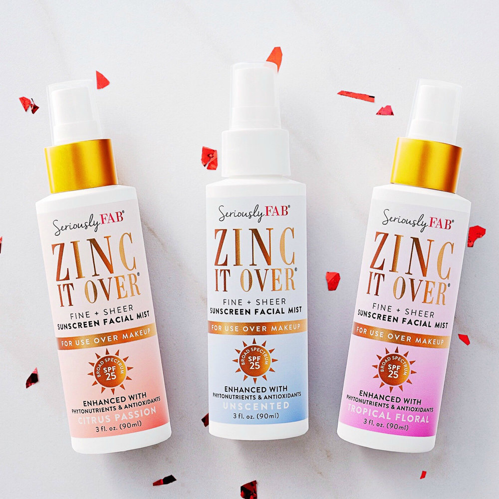 ALL Natural Zinc Based Sunscreen Mist YOU'LL ACTUALLY WANT TO WEAR! Mist right over Makeup: Anti- Aging, Hydrating. SOld at sephora. * Vegan + Cruetly Free {Buy 2 get 1 free}{F} - Seriously FABUse code: HOLIDAYBUY2GET1 for Buy 2 full sized bottles, get 1 FREE + FREE shipping. Valid: 11/20 to 11/26. Only one coupon code can be applied per order.Popular: Zinc It Over Sunscreen Mist