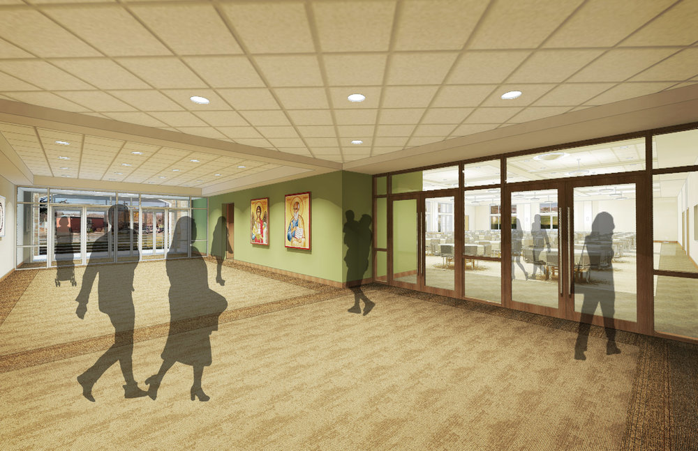 New hallway by new parish hall. Plans currently include the parish hall, gift shop, handicapped-accessible bathrooms, meeting space, and outside entrance on the same level as the Sanctuary.