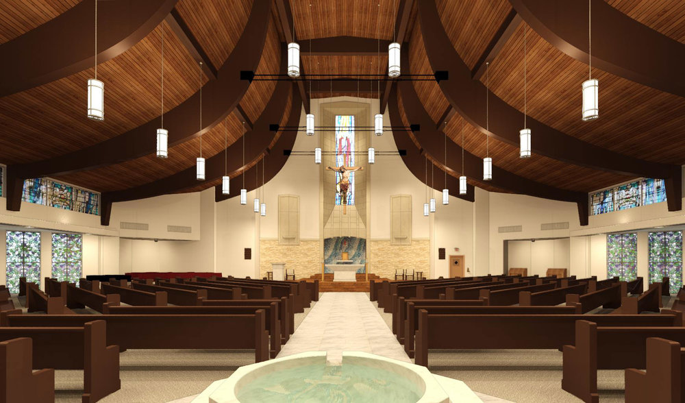 Remodeled Sanctuary with center aisle and centered tabernacle.