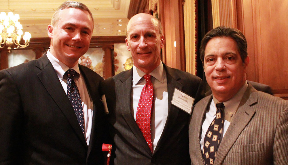 GPCC President Matt Smith, Allegheny Conference CEO Dennis Yablonsky and PA Senate Democratic Leader Jay Costa at the GPCC's 2016 December Public Officials Reception in Pittsburgh.