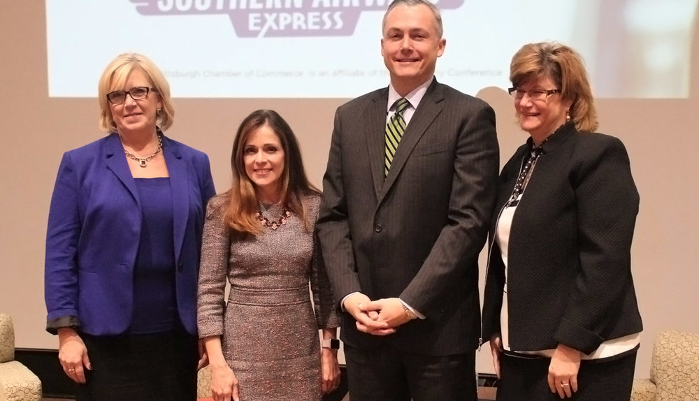 (L-R) Butler County Commissioner Leslie Osche, Washington County Commissioner Diana Irey Vaughan, GPCC President Matt Smith and Beaver County Commissioner Sandie Egley at the GPCC's First Friday Speaker Series event.