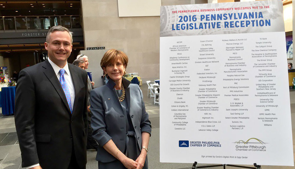 GPCC President Matt Smith and GPCC Vice Chair Donna K. Hudson at the 2016 Pennsylvania Legislative Reception in Harrisburg hosted jointly by the GPCC and the Chamber of Commerce for Greater Philadelphia.