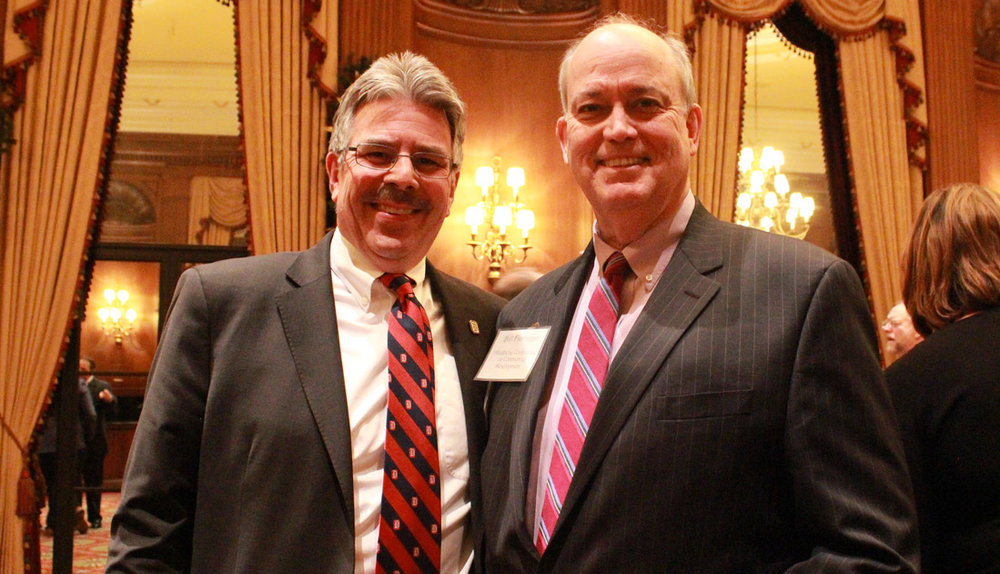 Duquesne University President Ken Gormley and the Allegheny Conference's Bill Flanagan at the GPCC's 2016 Public Officials Reception in Pittsburgh.