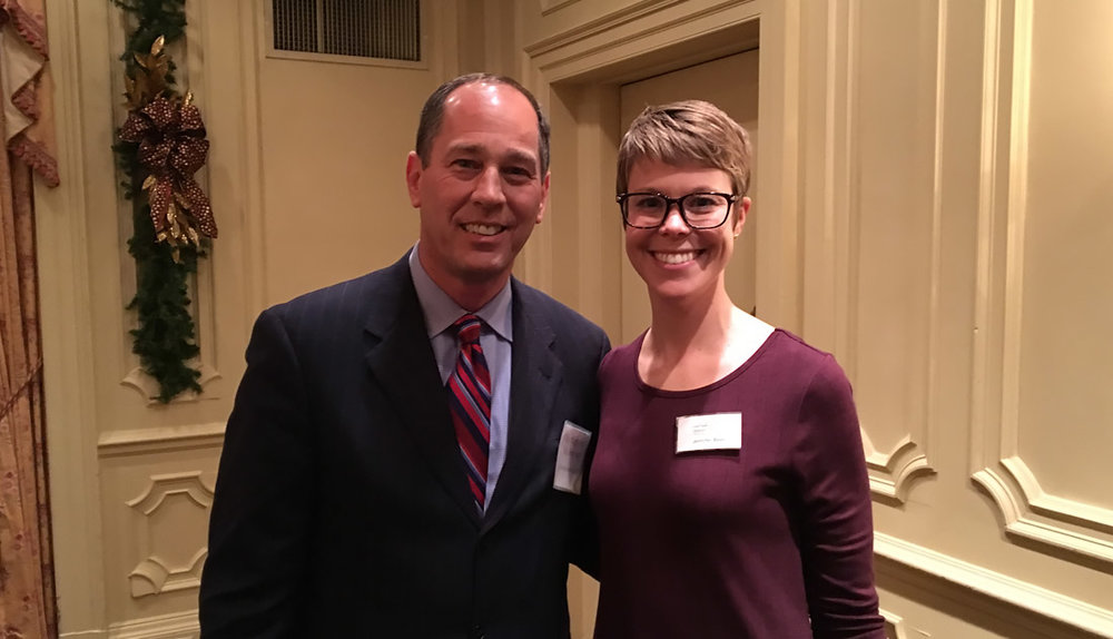 PA Senate President Pro Tempore Joe Scarnati with Jenn Beer, the GPCC's senior director of government affairs.