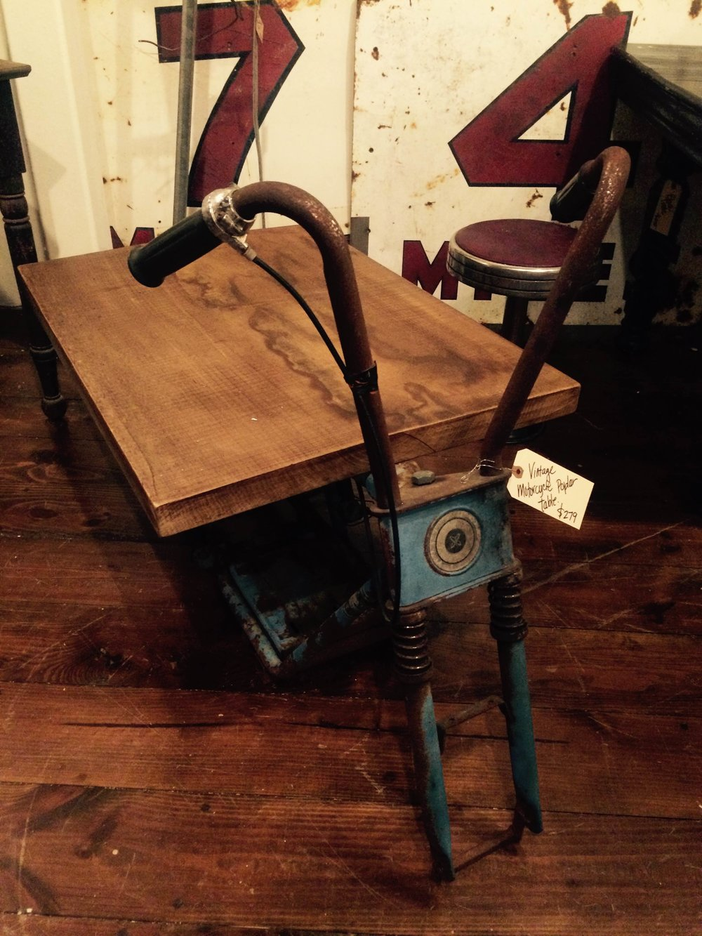 VINTAGE MOTOCYCLE UPCYCLED TABLE