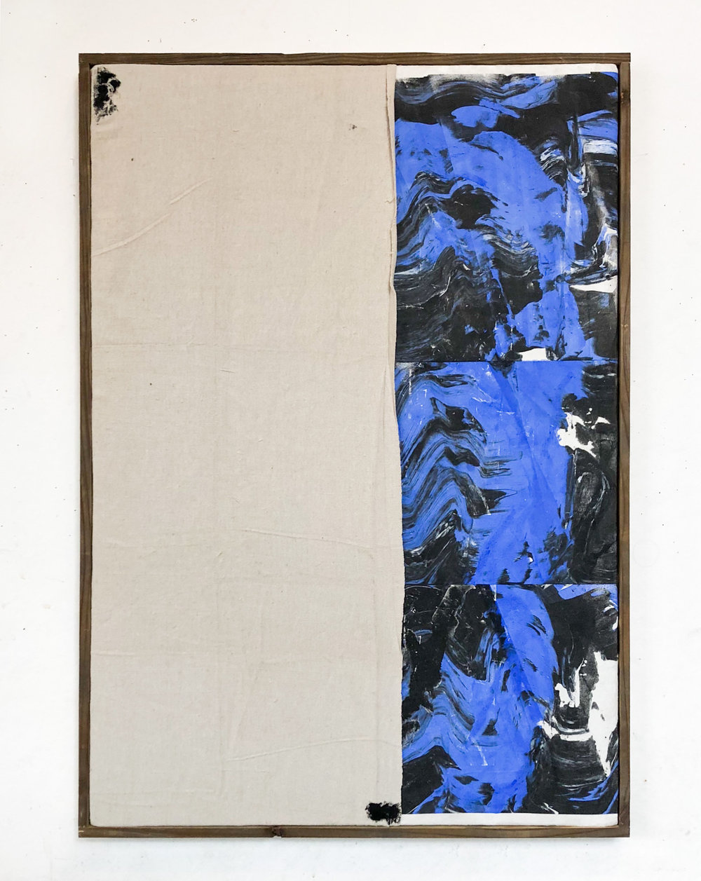 "SHIV'AH (שבעה), gesso, oil stick and ink with sand from the West Bank and Israel on linen and microsuede. Stretched on silkscreen frame 26"" x 37"", 2017"
