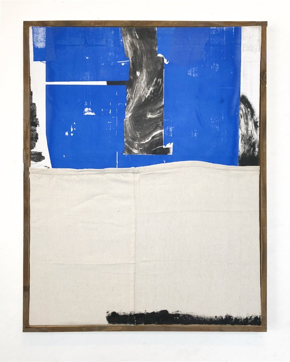 "SHIV'AH2 (שבעה), gesso, oil stick and ink with sand from the West Bank and Israel on linen and microsuede. Stretched on silkscreen frame 21.5"" x 27.5"", 2017"