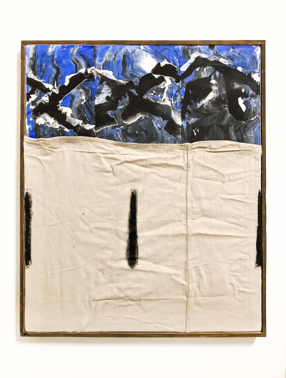 "SHIV'AH5 (שבעה), gesso, oil stick and ink with sand from the West Bank and Israel on linen and microsuede. Stretched on silkscreen frame 36"" x 30"", 2017"