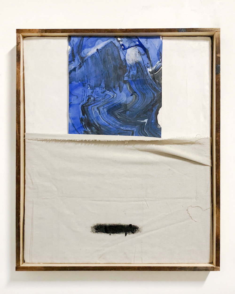 "SHIV'AH6, gesso, oil stick and ink with sand from the West Bank and Israel on linen and microsuede. Stretched on silkscreen frame, 21"" x 25"" inches, 2017"