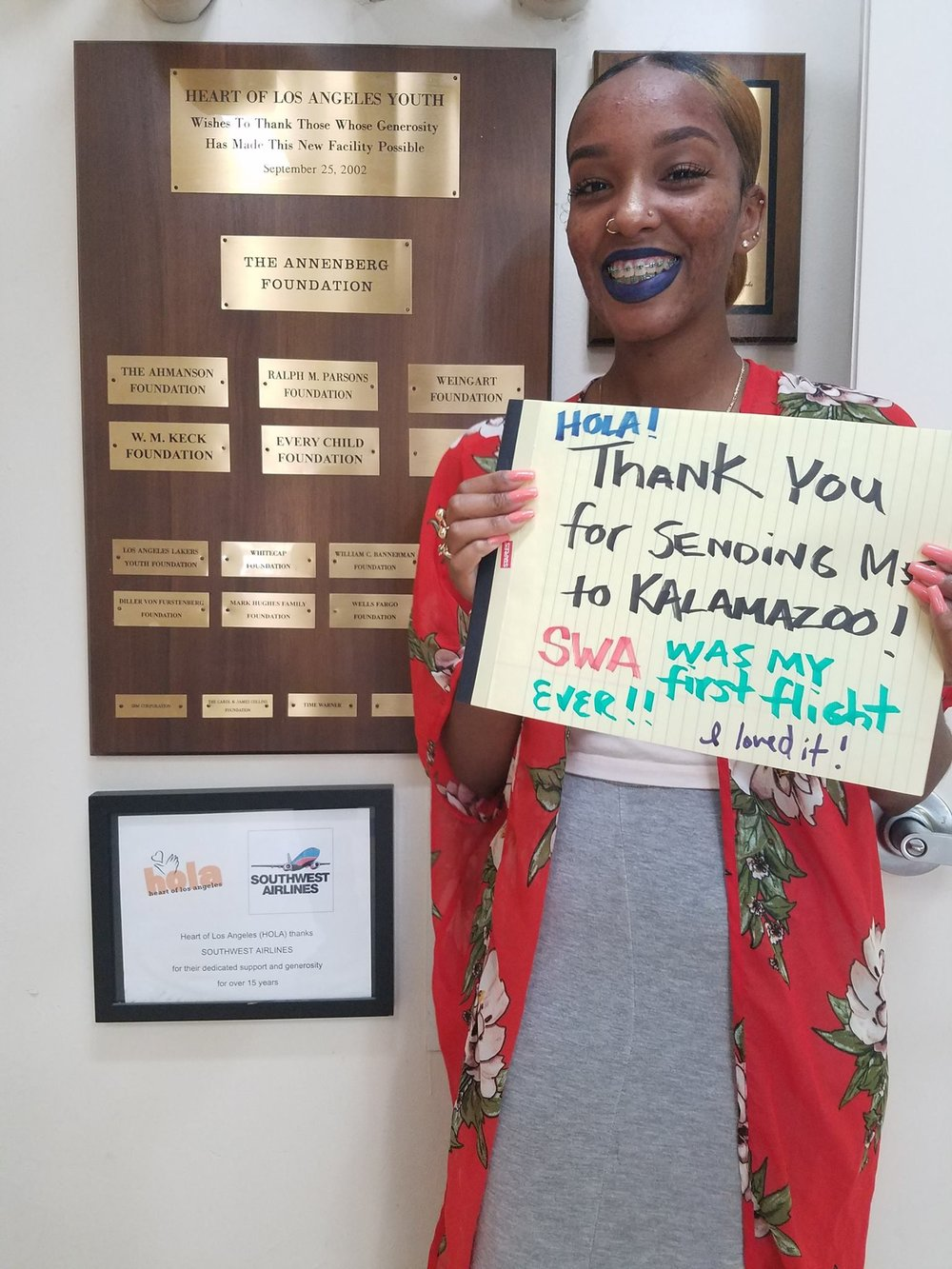 """""""Thank you for sending me to Kalamazoo [College]! Southwest Airlines was my first flight ever. I loved it!"""""""