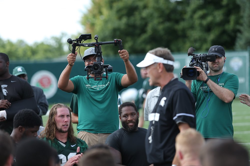 Shooting Michigan State training days for the Big Ten Network (Cody Shimek at right).