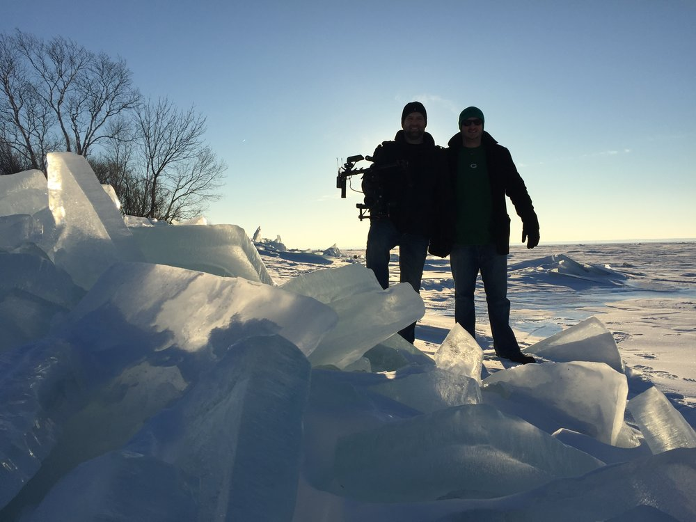 Filming on frozen Lake Superior for ESPN E:60.