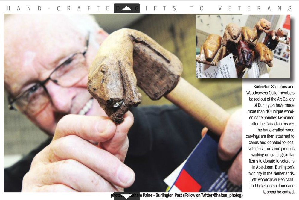 Woodcarver Guild Members who have made more than 40 unique wooden cane handles which were donated to local veterans. They are also working on cane handles to donate to veterans in Burlington's twin city: Apeldoom, Netherlands. Pictured here, Ken Maitland. Photo by Graham Paine - Burlington Post (@halton_photog on Twitter).