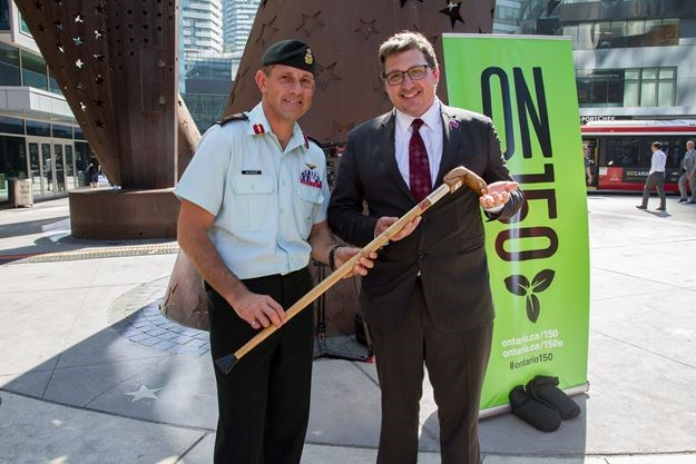 Robert Steven, CEO Art Gallery Burlington (right), presents a Canes for Veterans to Chef de Mission and Brig.-Gen. Mark Misener at the official welcoming of Team Canada to the 2017 Invictus Games at Maple Leaf Square in Toronto on Sept. 21. - Michelle Cochrane photo