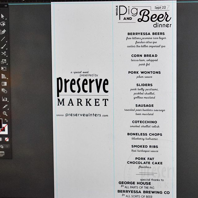 finishing touches in tonight's menu for Pig&Beer event in the market. tickets available online at preservewinters.com and a limited amount available in person. See you at 6:00p!