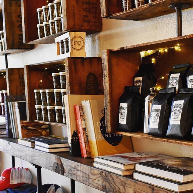 so much more than sandos and jalapeño jelly: books (marked below retail cause cook books are WAY too expensive), merch, and a brand new coffee roasted here in Winters