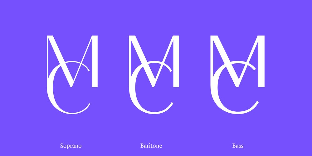 Different monograms for different text sizes.