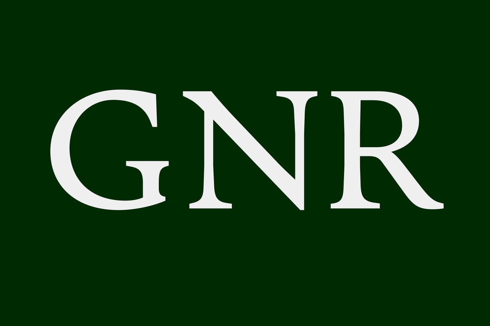 Typical features are the spur of 'G', the large ear on top left part of 'N', and long curly leg in 'R'. Also, serifs are generally not symmetrical.