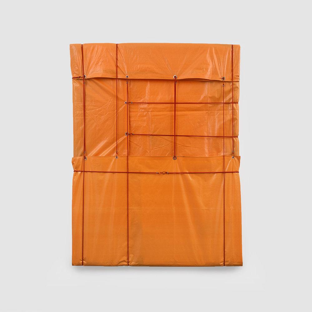 sem título - série origem,  2017  lona, elástico e metal  200 x 154 cm