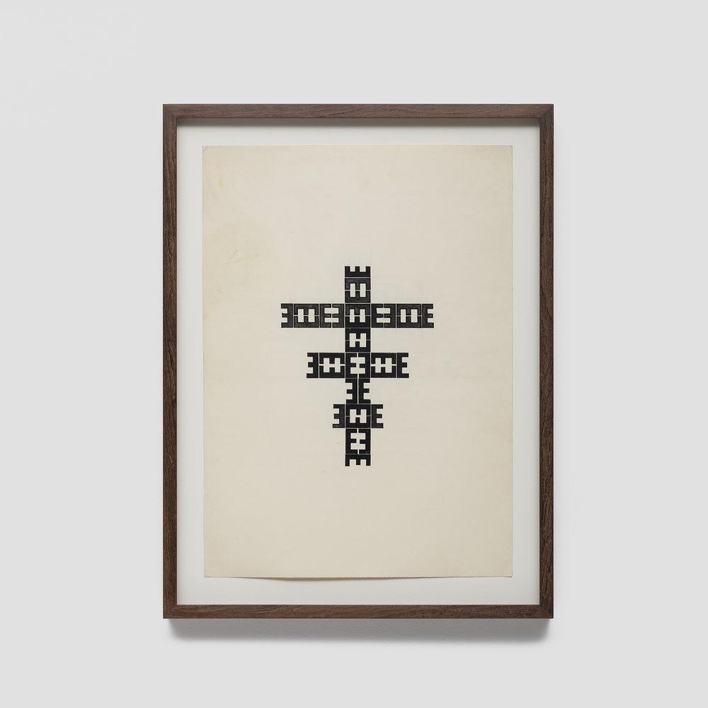 sem título,  c. 1970  tinta e letras transferíveis s/ papel  48 x 33 cm