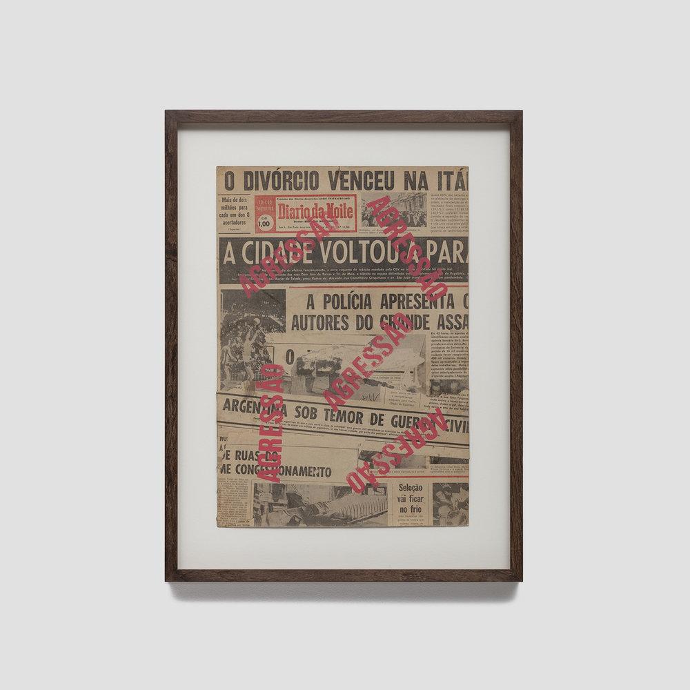sem título,  c. 1970  tinta s/ jornal impresso  46,5 x 32,5 cm
