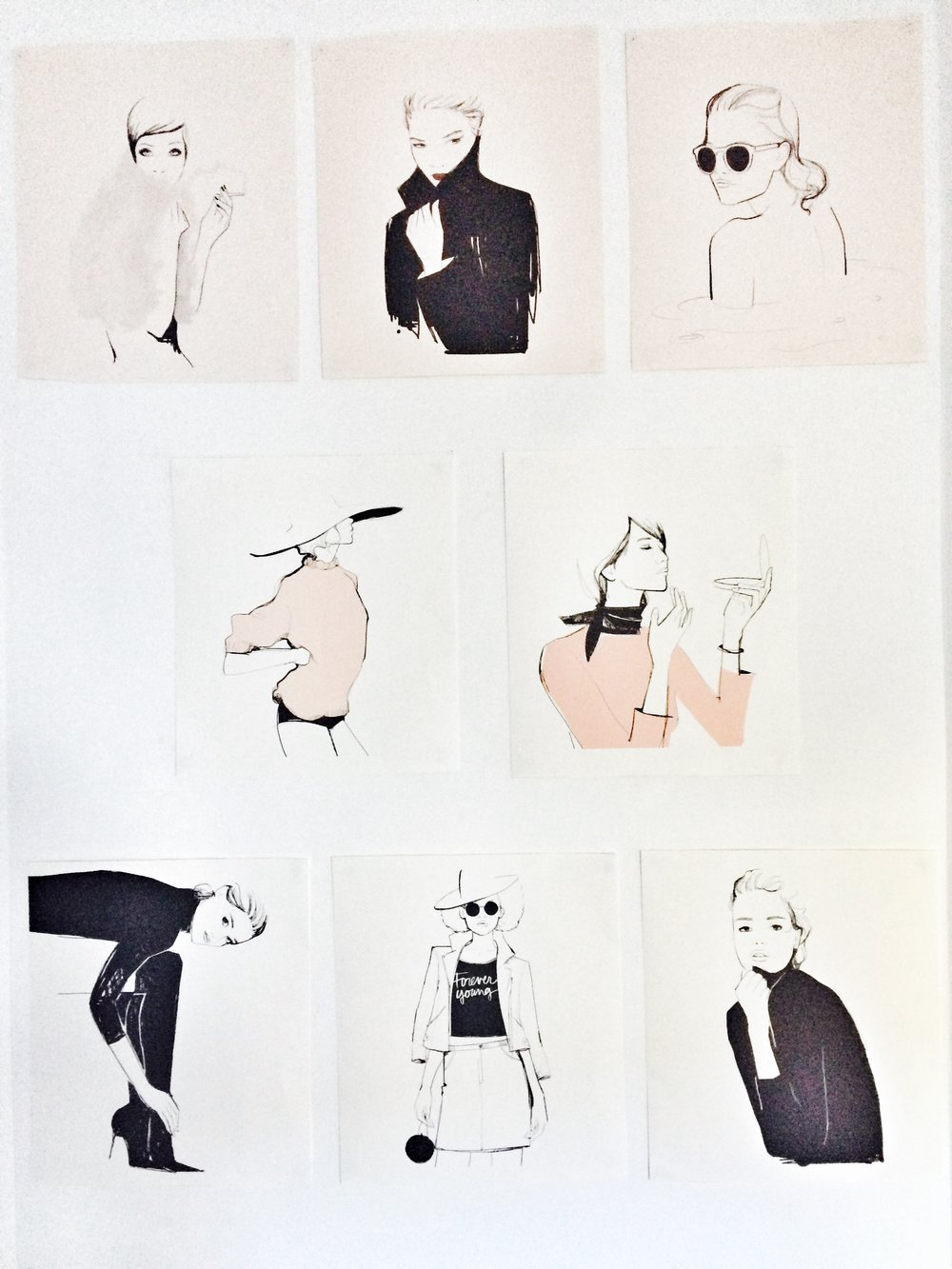 Prints from the Garance Doré 2015 and 2016 calenders repurposed as prints