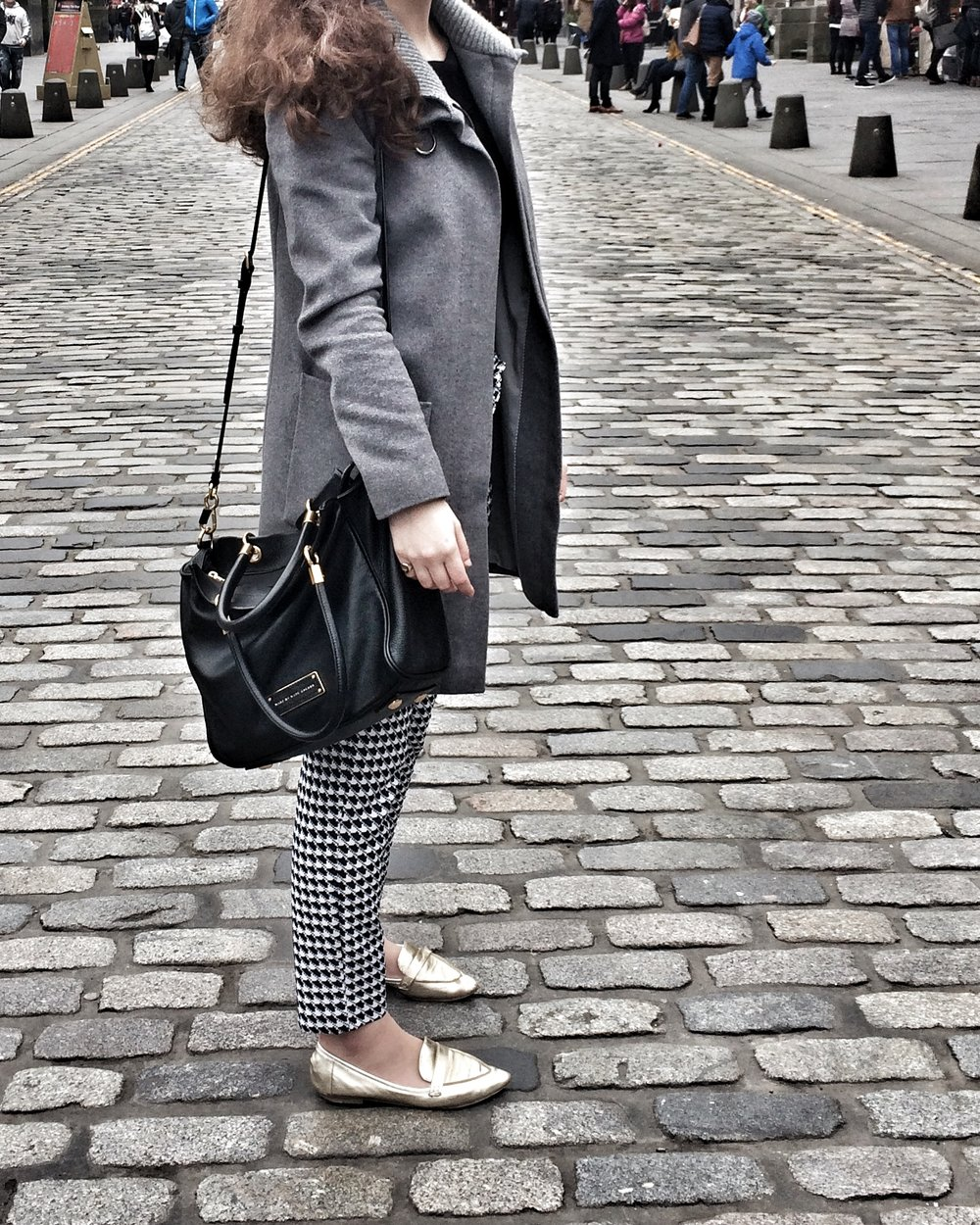 St Emile Coat, Topshop Loafers, Asos Top, (Similar) Zara Trousers (Similar) Marc by Marc Jacobs Shoulder Bag  (Similar)