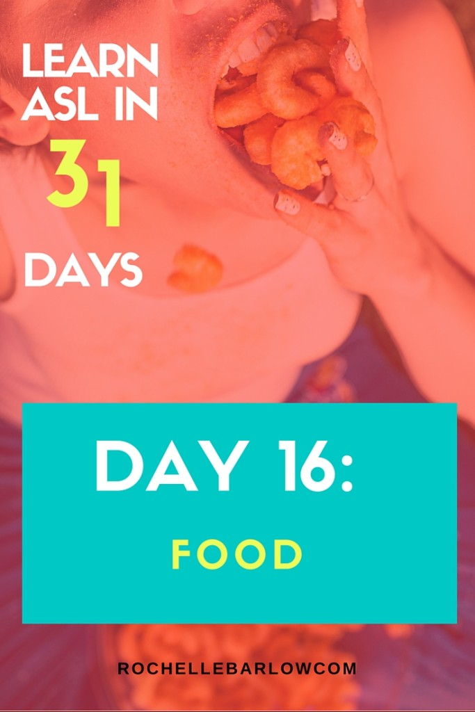 You've been dying to learn ASL forever! Now you can! You'll learn not only vocabulary, but also grammar and all the skills the go along with ASL. For FREE! | Day 16 is all about food signs. Click to watch and to learn about signing nouns.